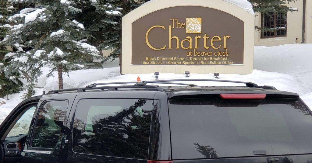 SUV outside The Charter at Beaver Creek entrance