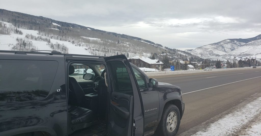 SUV arriving at Vail