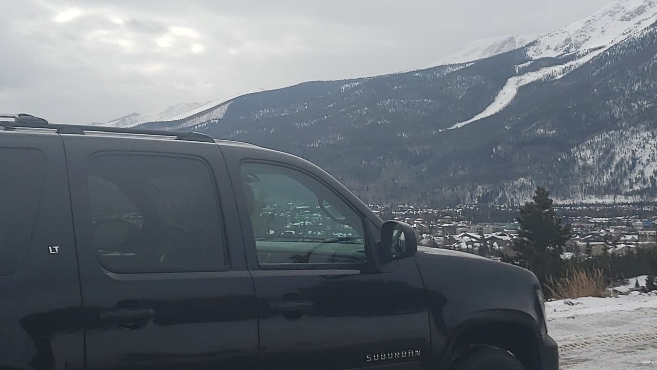 Black SUV arriving at Breckenridge