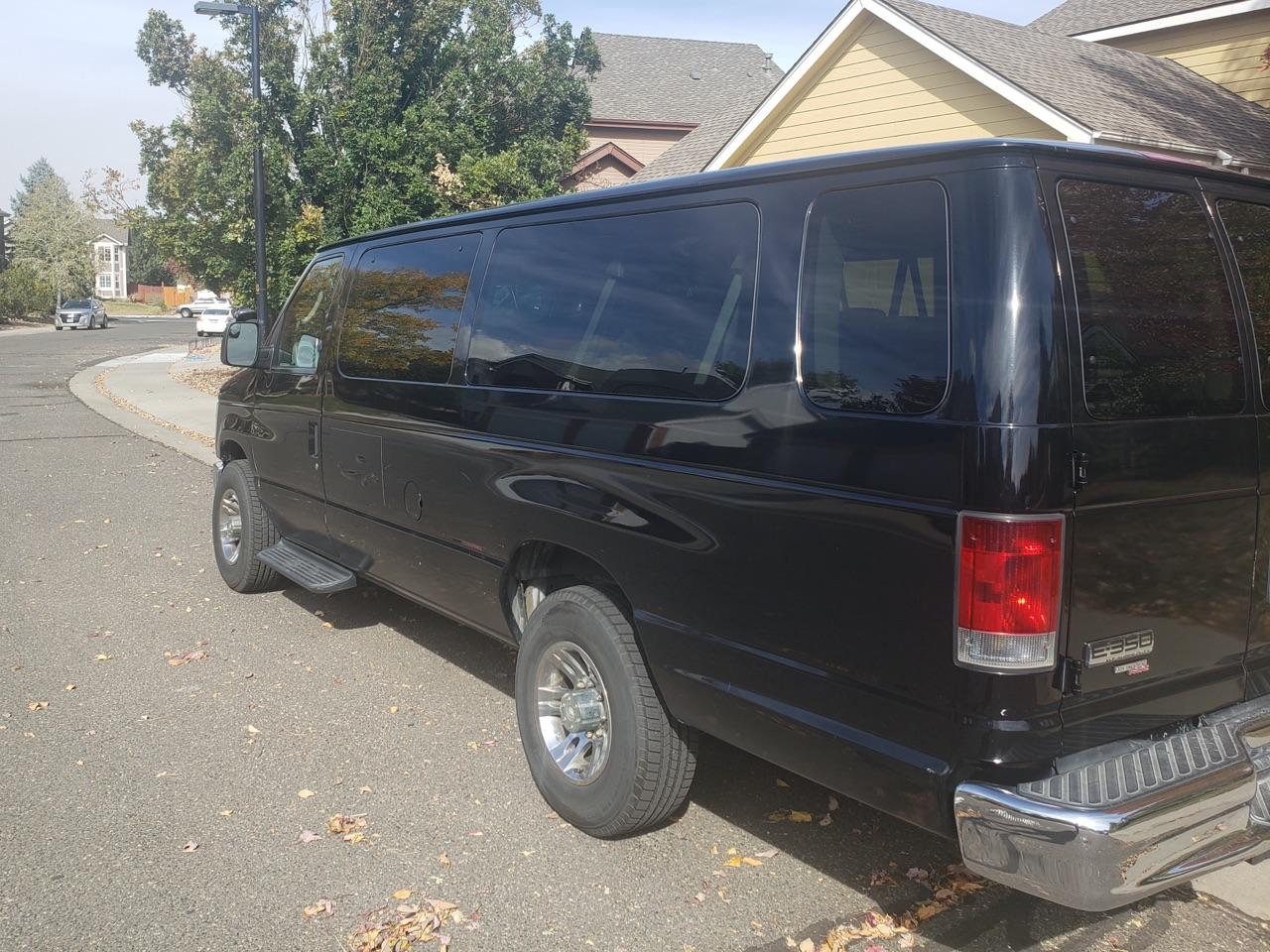 black VAN picking up a ride
